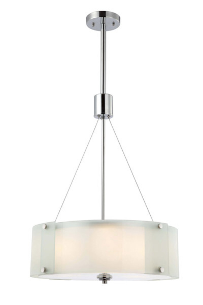 "Ryker, ICH432A03CH19, 3 Lt Rod Chandelier, Frosted Glass with Diffuser, 100W Type A, 19"" W x 37"