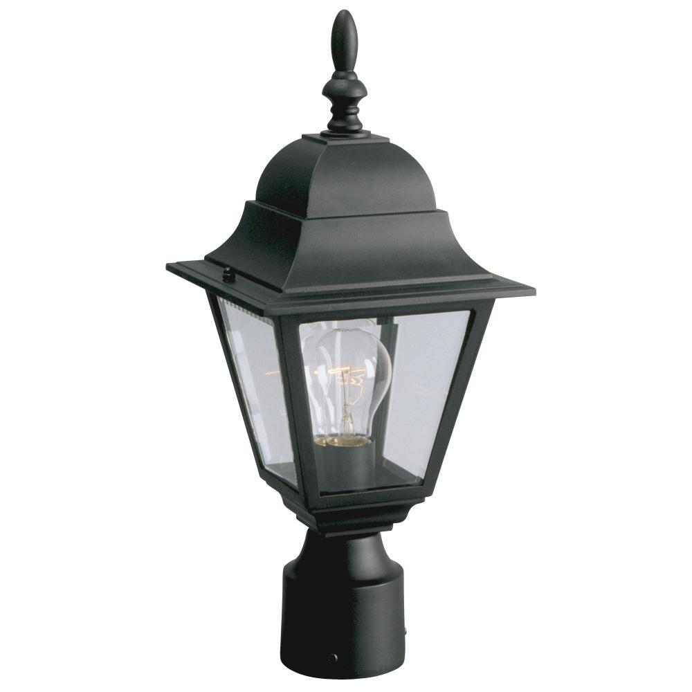 Ordinaire Outdoor Cast Aluminum Post Lantern   Black W/ Clear Beveled Glass