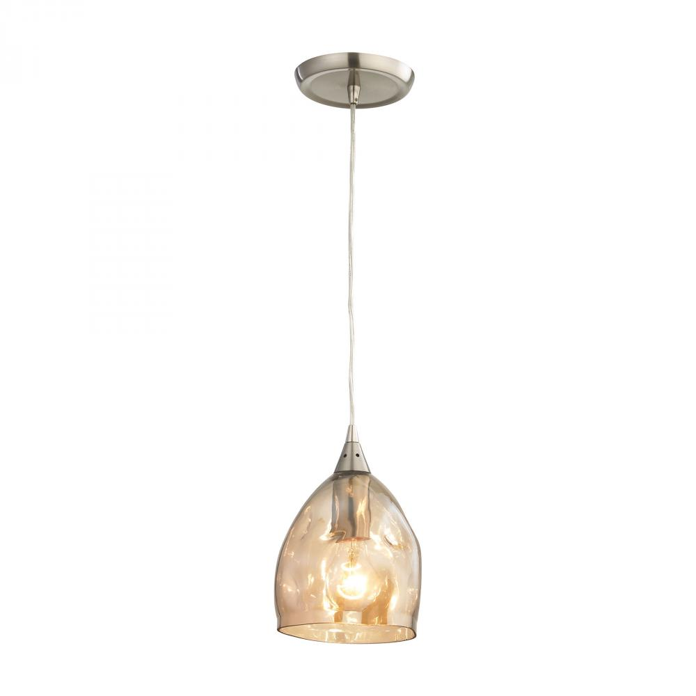Niche 1 Light Pendant In Satin Nickel And Champa