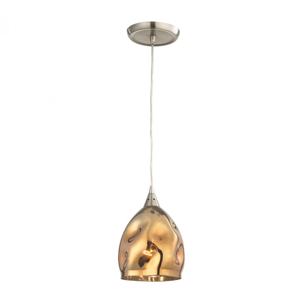 Niche 1 Light Pendant In Satin Nickel And Polish